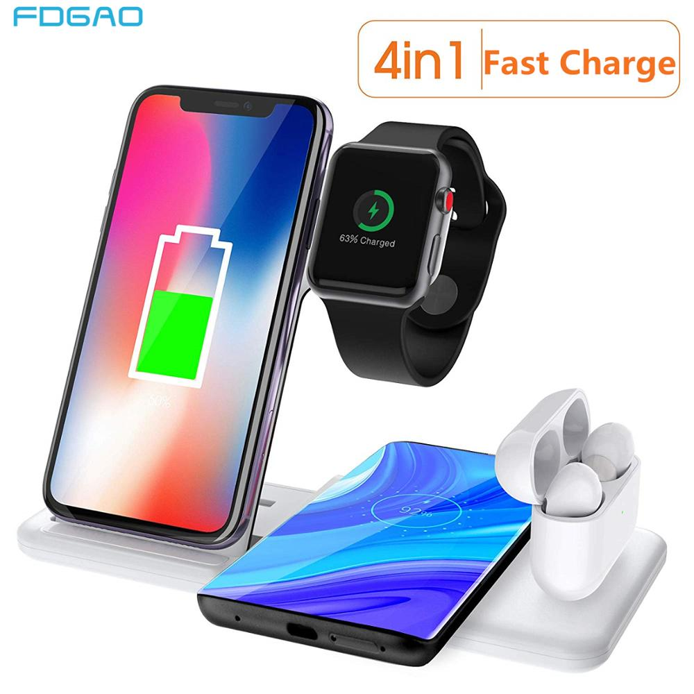 15W Wireless Charger Stand 4 In 1 Charging Station Dock For Airpods Pro Apple Watch 5 4 3 2 Qi Fast For IPhone 11 XS Max XR X 8