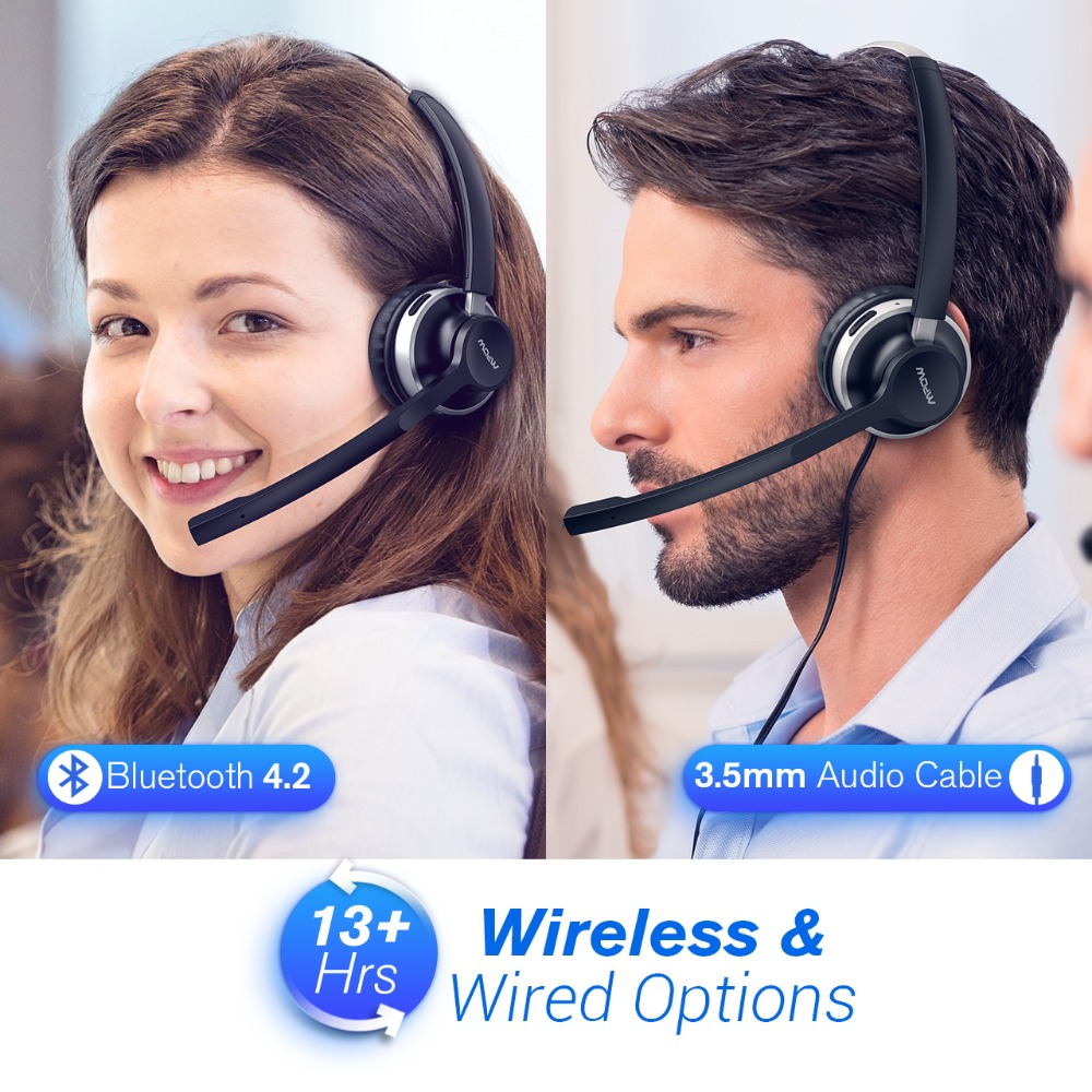 Mpow HC3 Bluetooth Headphones Crystal Clear Wireless Headphones With Dual Noise Canceling Microphones For Call Center&Trucker (4)