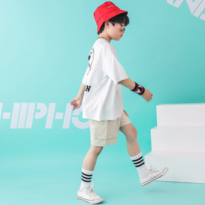 Image 2 - Kids Dance Wear Jazz Hip Hop Costumes for Girls Boys White T Shirt Short Pants Modern Show Clothes Wear Ballroom Dancing Costume