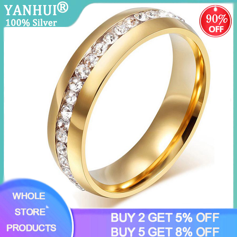 YANHUI Real Gold Color Wedding Rings for Women Men Jewelry Stainless Steel Zircon Engagement Ring Couple Anniversary Gift R005S