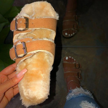 2020 spring plush slipper Home Fur Slides Women Winter Furry