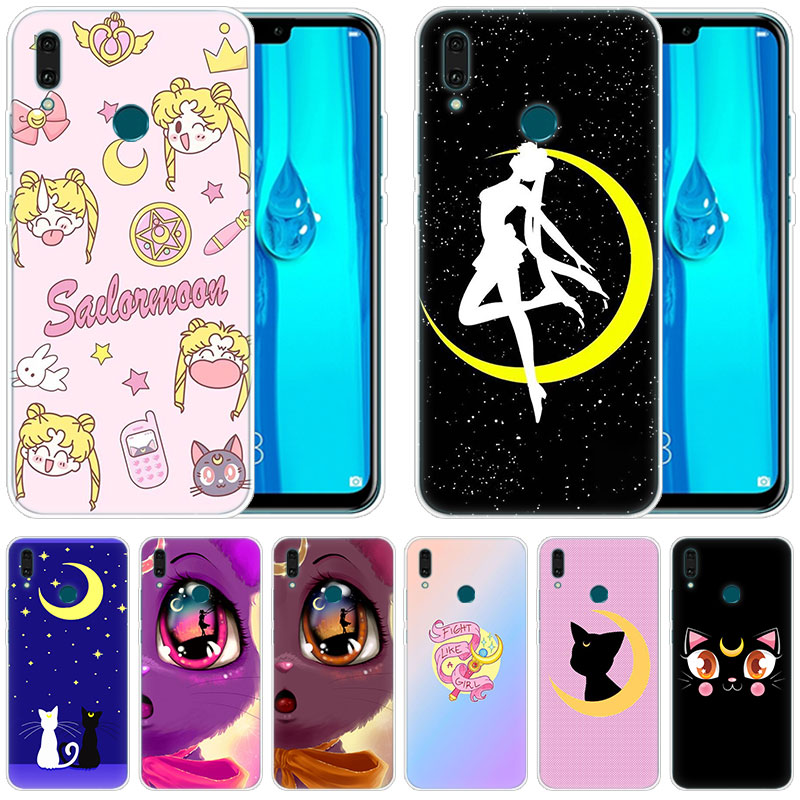 Soft <font><b>Silicone</b></font> <font><b>Case</b></font> Anime sailor moon lune cat for <font><b>Huawei</b></font> Mate 30 20 Lite 10 Pro Y5 <font><b>Y6</b></font> Y7 Pro 2019 Y9 Prime 2019 <font><b>2018</b></font> <font><b>Y6</b></font> Pro 2017 image