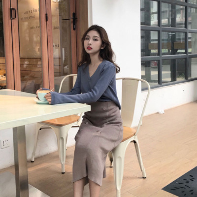 Autumn Soft Girl Hong Kong Flavor BF Elegant Goddess Slimming Sweater With Skirt Two-Piece Set Women's 2019 New Style Fashion Fa