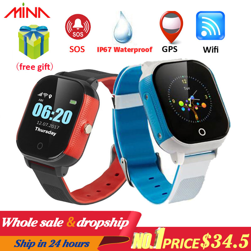 FA23 Smart Children Watch IP67 Waterproof Baby SIM Card Touch Screen GPS WIFI SOS Tracker Kids Alarm Clock Anti Lost Smartwatch-in Smart Watches from Consumer Electronics