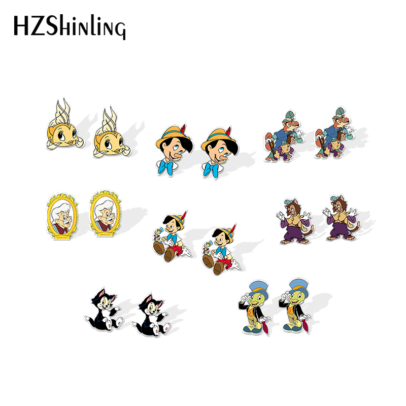2020 New Funny Puppet Stud Earring Figaro Cleo Jiminy Cricket Acrylic Earrings Resin Earrings Handmade Epoxy Jewelry