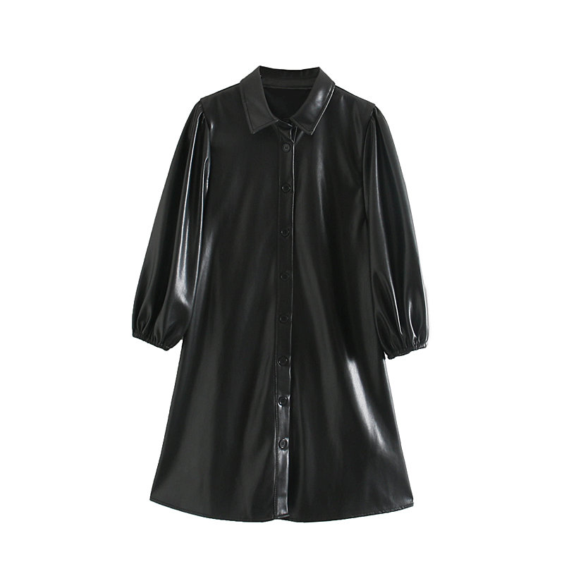 Black Pu Faux Leather Short Sleeve Turn-down Collar Dress