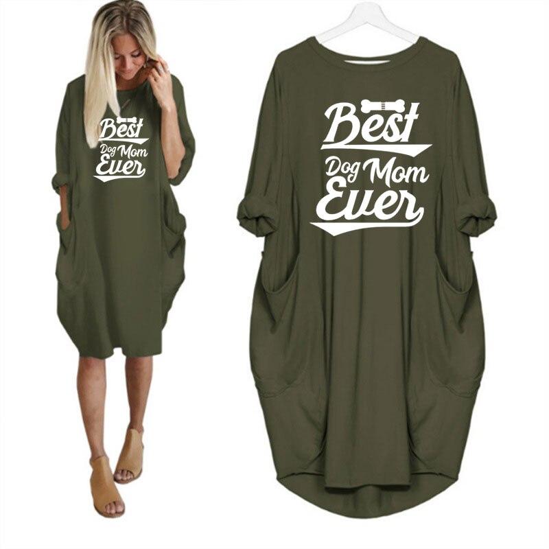 Новинка 2020, модное платье для женщин с карманами, платье с надписью Best Dog Mom, женское асимметричное платье с длинными рукавами и принтом