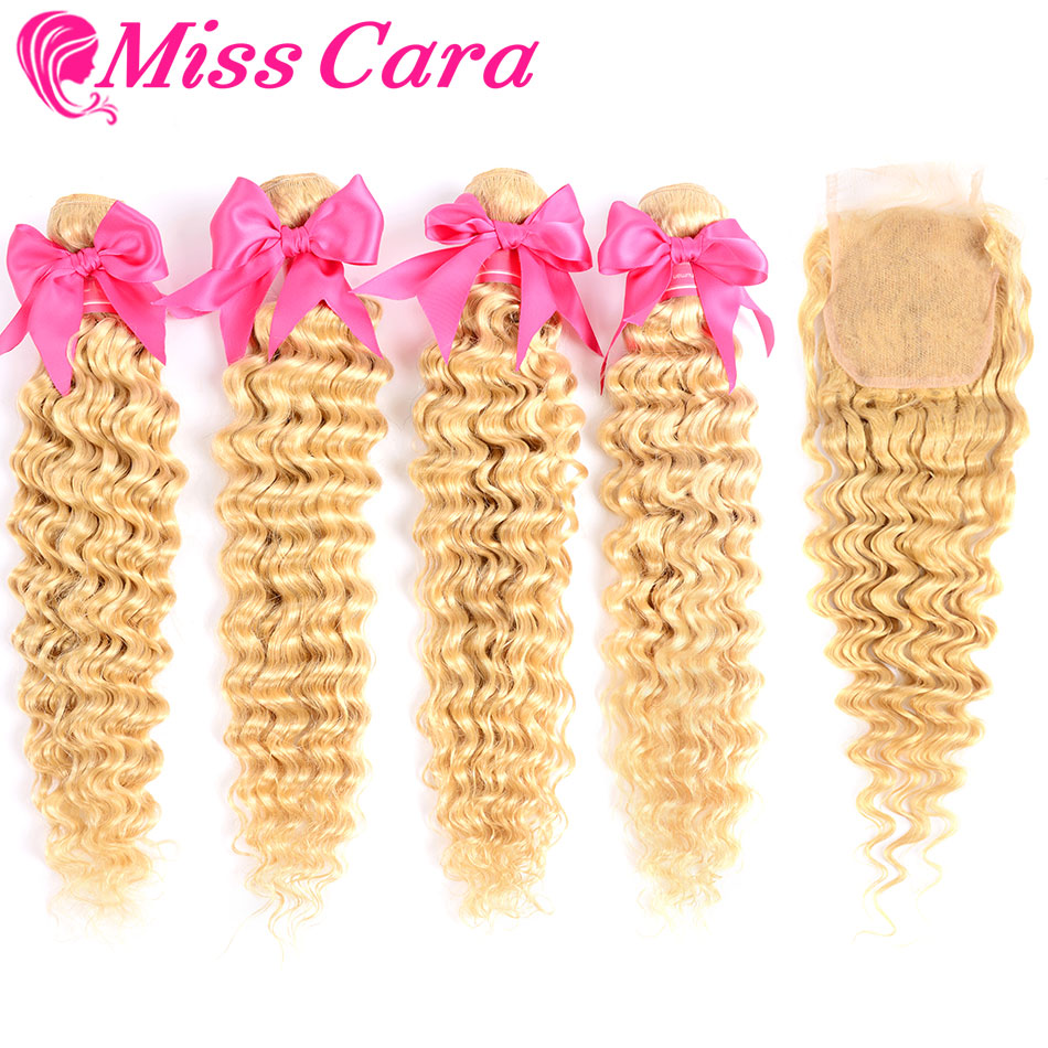 Miss Cara 613# Honey Blonde Brazilian Deep Wave Bundles With Closure 100% Human Hair 3 Bundles With Closure Remy Hair Extensions image