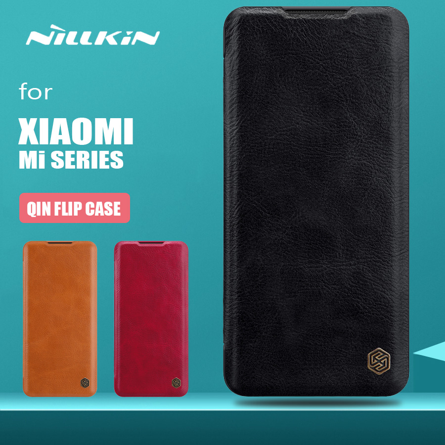 til Xiaomi Mi Note 10 Pro 9 8 SE Veske Nillkin Qin Series Flip Leather Case for Xiaomi Mi Note 10 6 Mi9 SE Mi8 CC9 Pro Phone Case