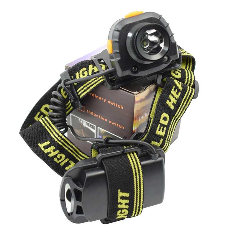 IR Sensor Headlamp XPE R3 LED Headlight Inductive Forehead Light Frontal Flashlight 3 Modes Running Head Torch Lamp By AAA
