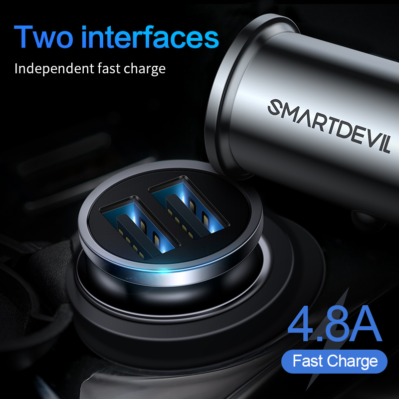 SmartDevil USB Car Charger Quick Charge 4.8A Mobile Phone Charger 2 USB Port Fast Charger for iPhone Samsung Tablet Car-Charger