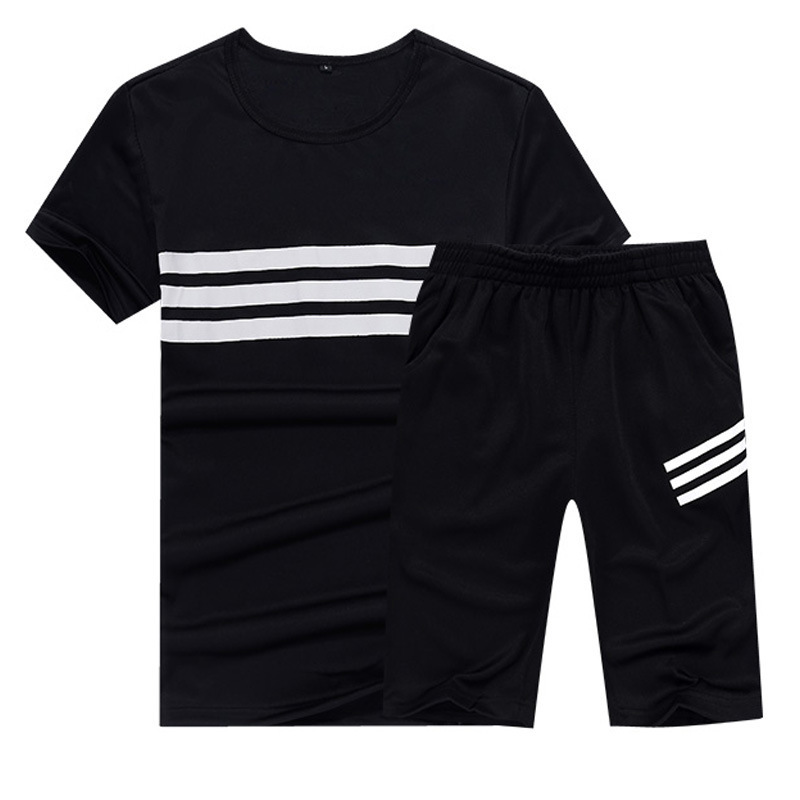 2020 Summer Running Fitness Set Shorts+Short Sleeve Sportswear Jogging Outdoor 2 Piece Football Men's Sports Suit