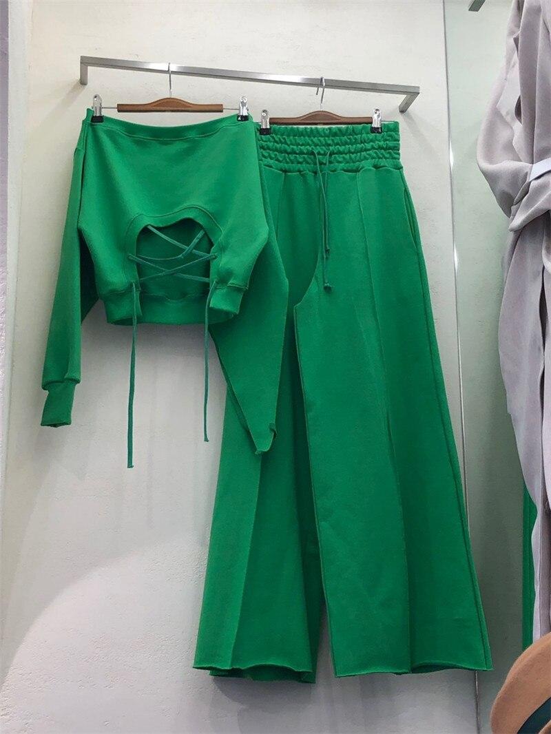 CBAFU Loose Women Tracksuit Wide Legs Pants Backless Tops 2 Piece Set Trousers Suit Pants Set Elastic Waist Wild Hoody P942