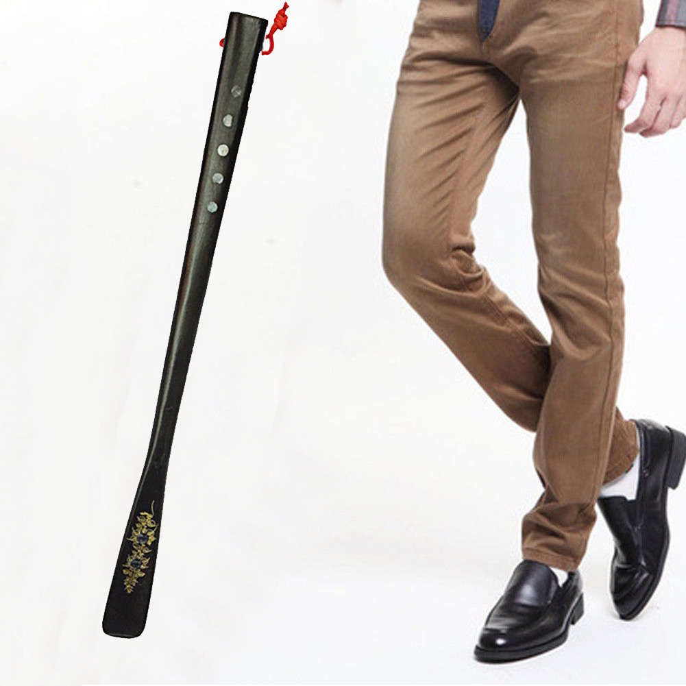 55cm Professional Shoe Horn Lifter Sturdy Seniors Portable For Elders Spoon Flexible Wooden High Heel Long Handle Useful Home