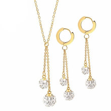 Rir cristal bola conjuntos de jóias de noiva dubai ouro cor moda jóias colar brincos conjunto casamento