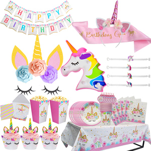 Image 1 - Unicorn Birthday Party Decor Unicorn Party Paper Napkins Plate Cup for Party Decoration Kids Baby Shower Birthday Party Supplies