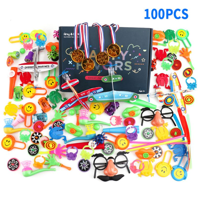 100 PCS Assorted Gift Toys Goodie Bags Carnival Prizes Festive Party Supplies Pinata Fillers Kids Toy Gadget Giveaways image