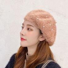 Осенне зимняя шапка из искусственной норки в стиле Лолиты женская