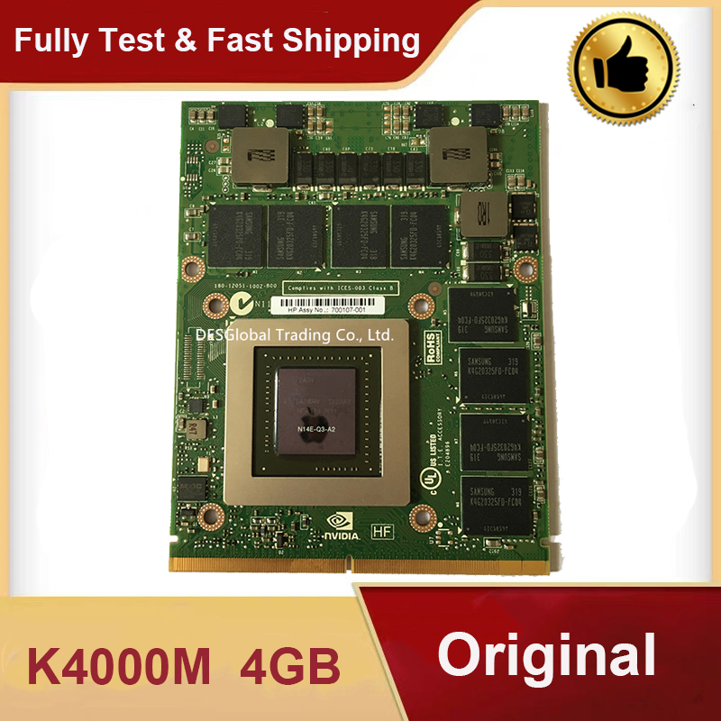 Original K4000M K4000 Video Graphic VGA Card 4GB N14E-Q3-A2  For DELL M6600 M6700 M6800 HP 8760W 8770W 8740W Working Perfectly