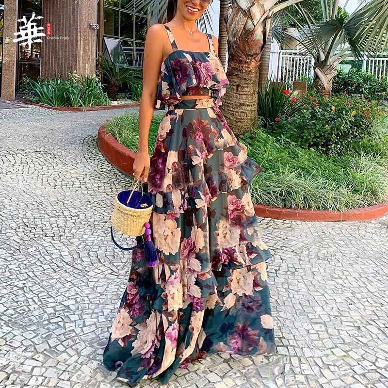 Bohemian Floral Print Suits Dress Two Piece Set Short Top Camis Sexy Femeal Women Summer Casual 2 Pieces Suit Dresses for Female