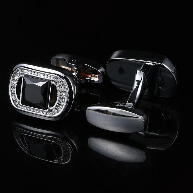 High-grade Black Crystal French Cufflinks  4