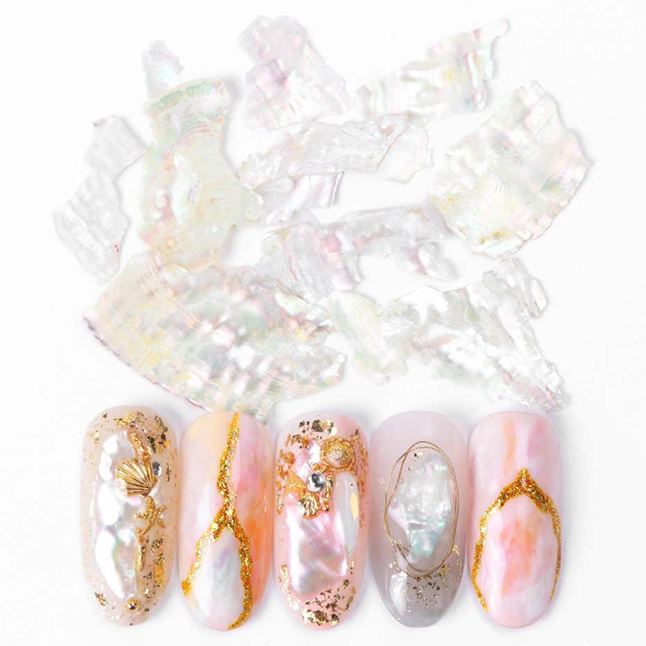 1 ボックス 3D アワビシェルネイルアート装飾マニキュア孔雀色大理石石シェルゴールドメタルフレークスライス光沢のある宝石ステッカー TRBA01-18