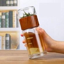 Nuovo Doppio Strato di Vetro Tazza di Acqua Portatile Ad Alta Temperatura Resistenza Trasparente Tazza di Tè Creativo Separazione di Acqua del Tè Tazze