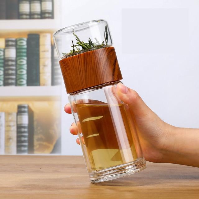 Taza de agua de cristal de doble capa, taza transparente portátil de alta resistencia a la temperatura, té, creativa, separación de agua del té