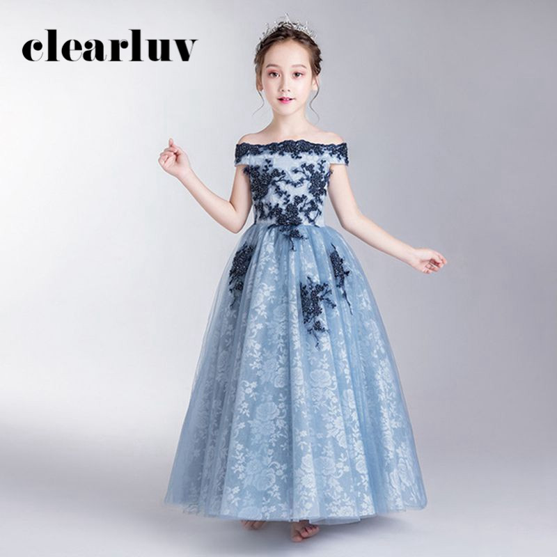 Flower Girl Dresses For Weddings B073 Light Blue Lace Girls Princess Dresses Off The Shoulder Boat Neck Tulle Girls Ball Gown