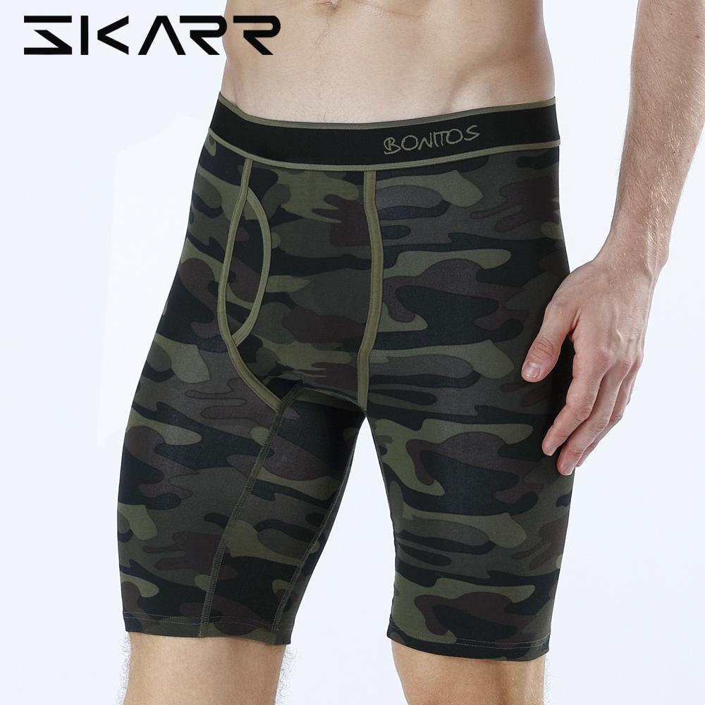 SKARR Long Boxer Mens Boxer Shorts Men Underwear Cotton Brand for Mens Underware Boxers Sexy Boxershorts Underpants Under Wear