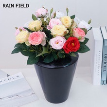 Fake Flowers Rose Pink Decoration for Home Wedding Garden Gifts Valentines Day Silk Bouquet Peony  DIV Handwork
