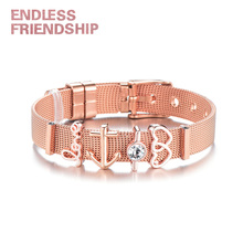 Endless Friendship Rose Gold Color Women Stainless Steel Bracelet Anchor Charms European Woman Watch Accessories Gift