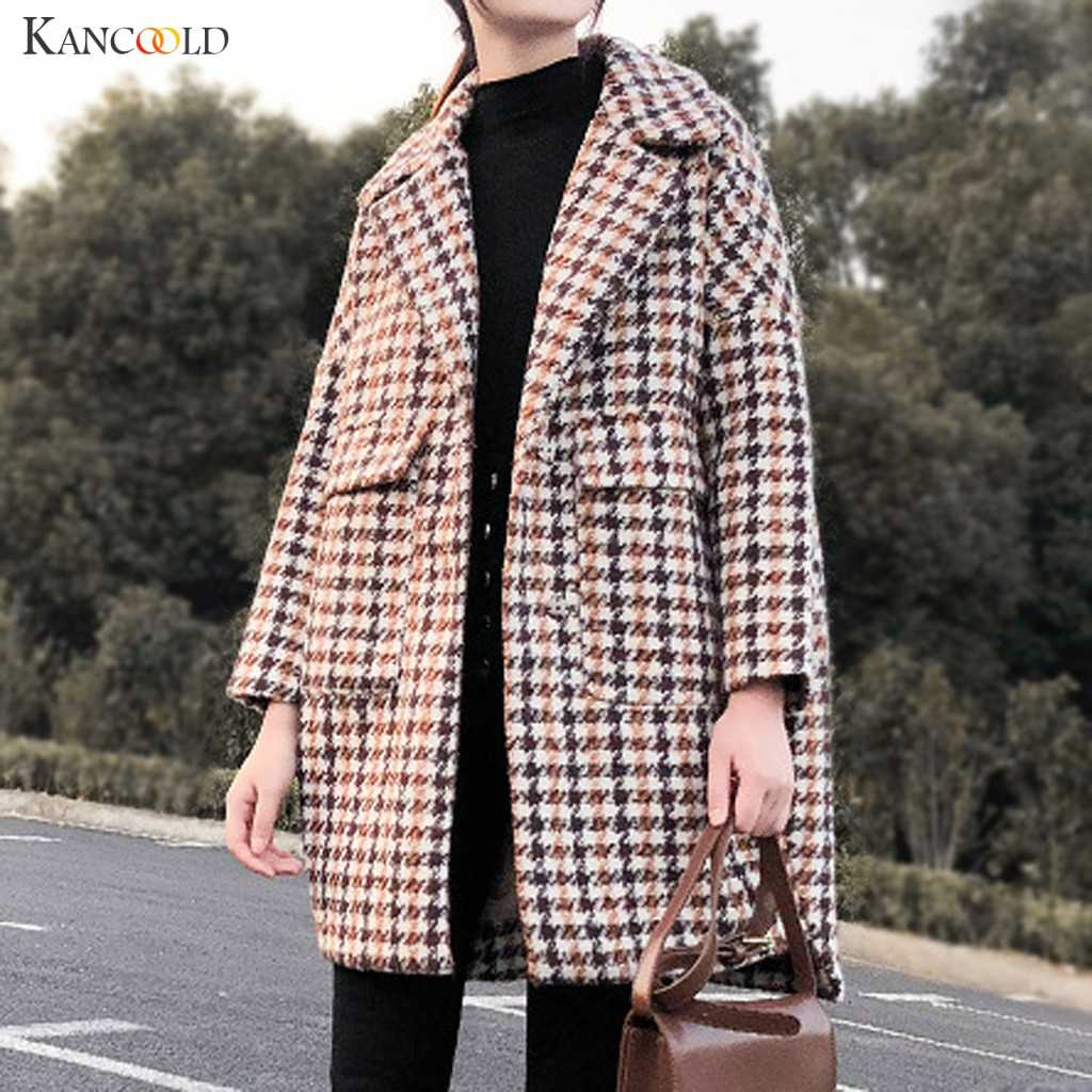 KANCOOLD jassen Womens Winter trend wol & Blends Revers Knop Lange Geul Jas Overjas Uitloper fashion nieuwe jas vrouwen 2019NOV21