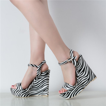 YECHNE Summer Women's High Heels Sandals Platform Woman Heels Shoes Women's Zebra Stripe Wedges Sandals Zapatos Mujer 2020