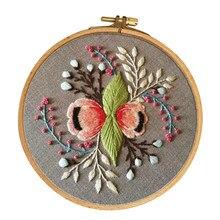 Gama completa de kits de partida de bordado padrão de flor incluindo pano de bordado, linhas, agulhas e aro para iniciantes