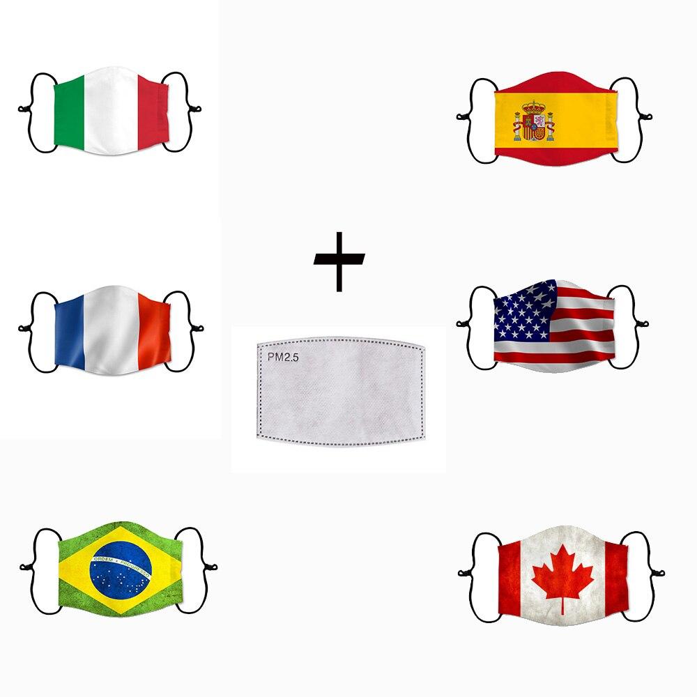 2020 NEW 3D National Flag Masks Women/Men United States Mask Spain Italy Anti Dust Reusable Street Face Mask