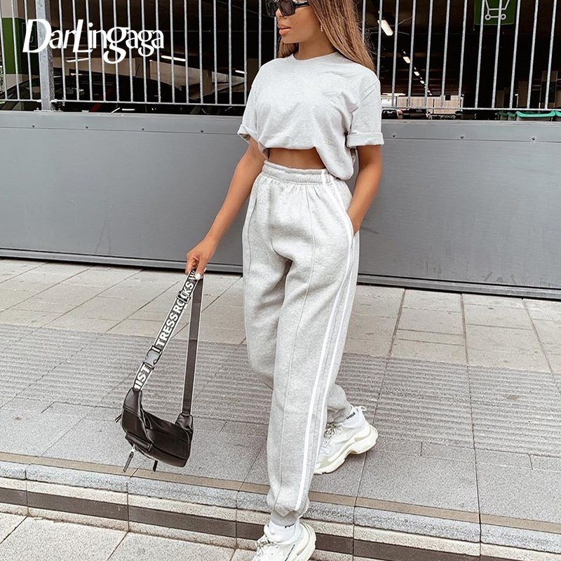 Darlingaga Streetwear Loose Side Stripe Sweatpants Pants Women Fashion Elastic Waist Trousers Patchwork Baggy Harem Pants Capri
