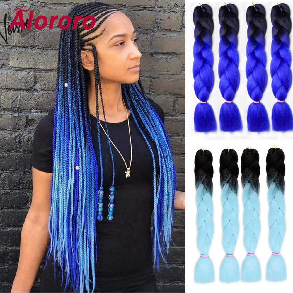 Alororo Long Hair Braids Black Blue Color Ombre Jumbo Braiding Hair Extensions Heat Resistant Synthetic Fake Hair For Braiding