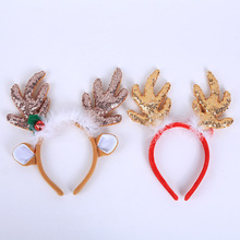 2019 Merry Christmas Ornaments Bow Golden Big Antlers Hair Accessories Brown Headband Gifts Dropshipping