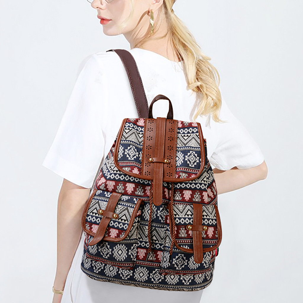 New Backpack European And American Style Canvas Printing Casual Ladies Backpack Daily Fashion Ladies Small Backpack Mochila