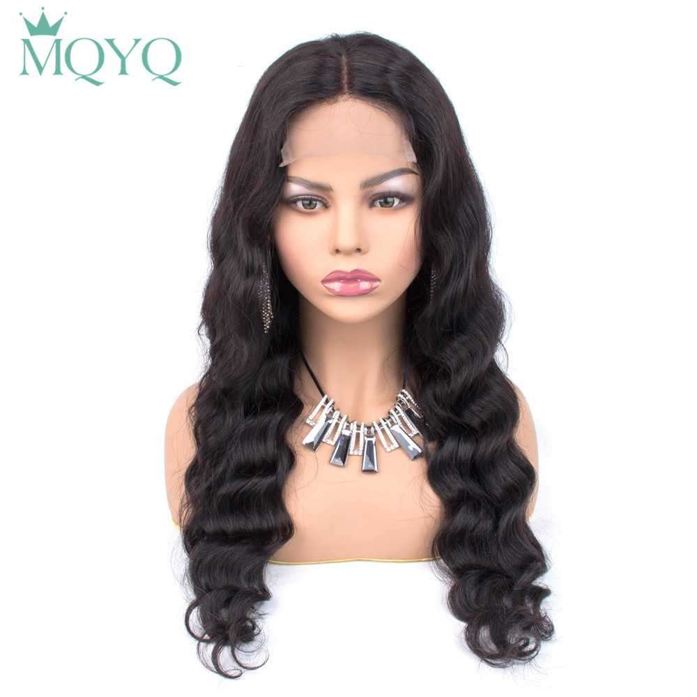 MQYQ 4*4 Lace Closure Wigs Body Wave Human Hair With Baby Hair Bang Non-Remy Hair Peruvian Hair Wigs For Women Lace Closure Wig