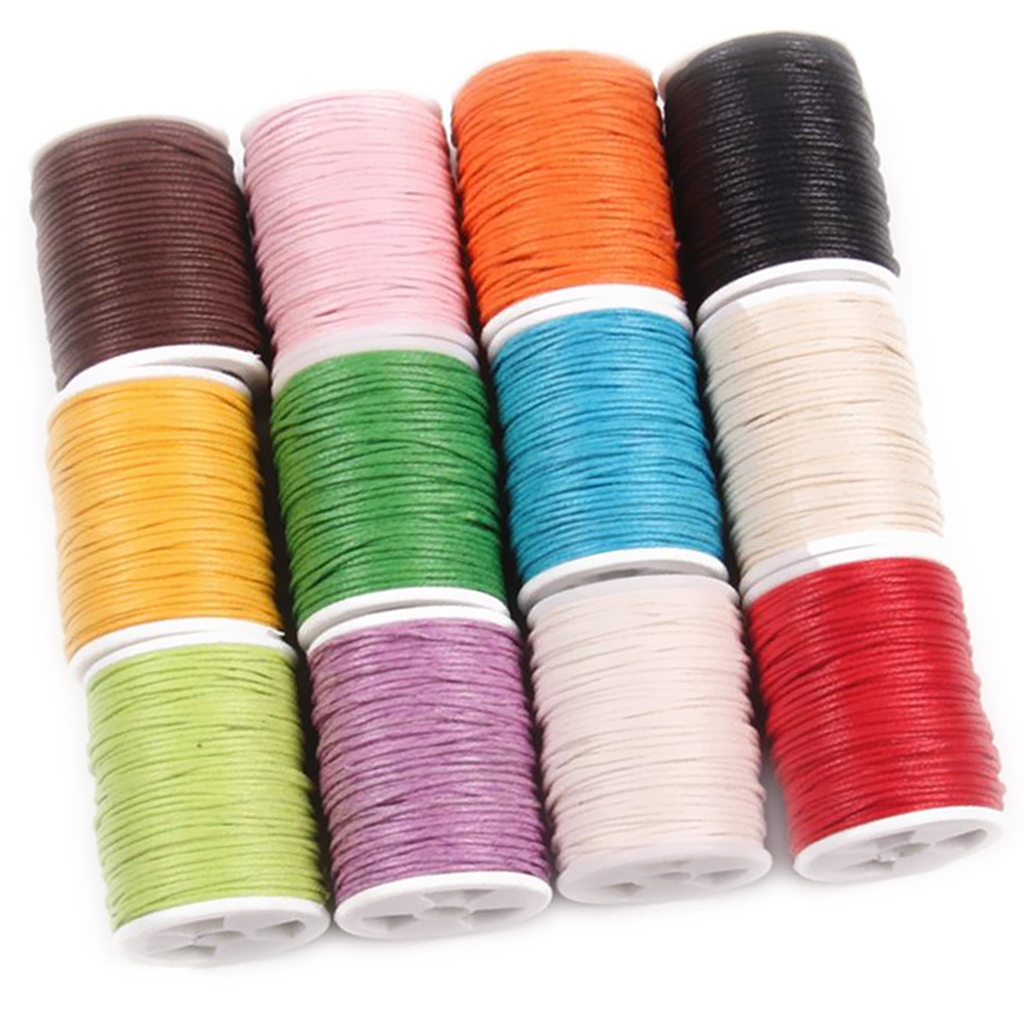 12pcs/set Cord Beading Threads, Waxed Cotton Thread, Jewelry Strings DIY Supplies Sewing Stitching Leather Crafts