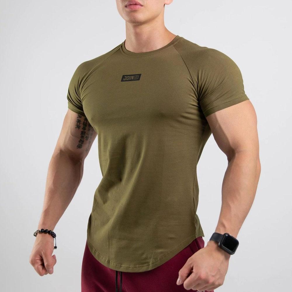 Gym T-shirt Men Fitness Bodybuilding Cotton Skinny T Shirt Male Running Sport Jogging Training Tee Tops Crossfit Brand Clothing