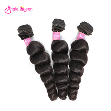 Hair-Bundles Weaves Natural-Color 100%Human-Hair Peruvian Queen Angie Non-Remy Loose