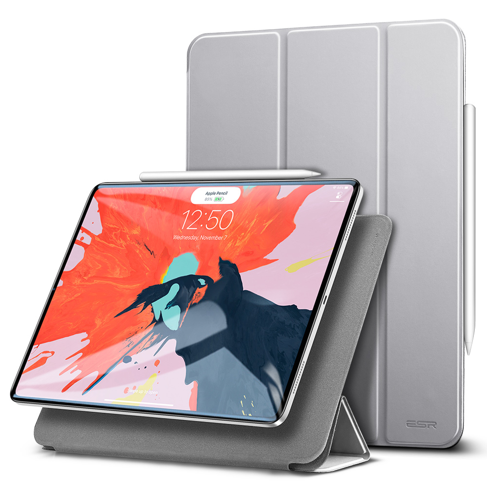Gray ESR Magnetic Smart Cover with Trifold Stand and Rubberized Cover for iPad Pro 11 2018 A2013, A1934, A1979, A1980