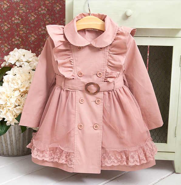 בנות סתיו מעיל רוח מעיל חולצה ילדים חדש מעיל רוח גדול בנות כותנה מעובה מעיל גשם ארוך חורף מעיל