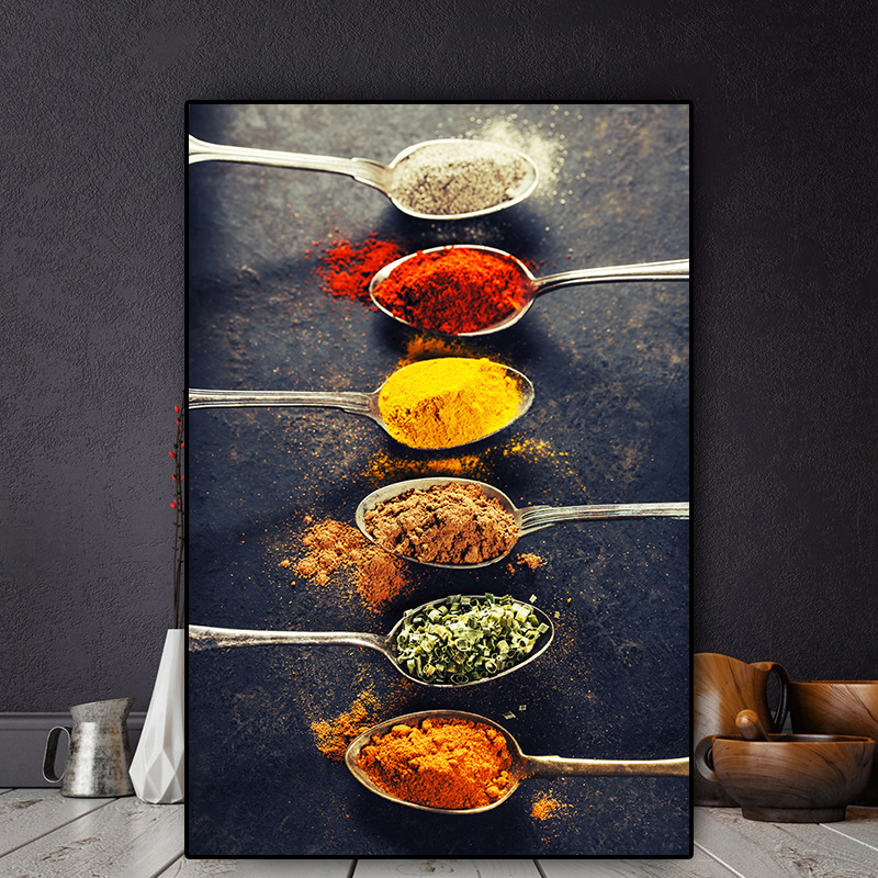 Grains Spices Peppers Spoon Scandinavian Canvas Painting Cuadros Posters And Prints Kitchen Wall Art Food Picture Living Room