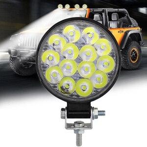 1pc 42W Round LED Work Light Spotlight 14 LED Light Bar For 4x4 Offroad ATV UTV Truck Tractor Motorcycle Fog lights