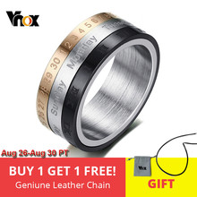 Vnox Roman Numerals Ring Men Jewelry Stainless Steel Cool Punk Spinner Mens Ring with Date Time(China)