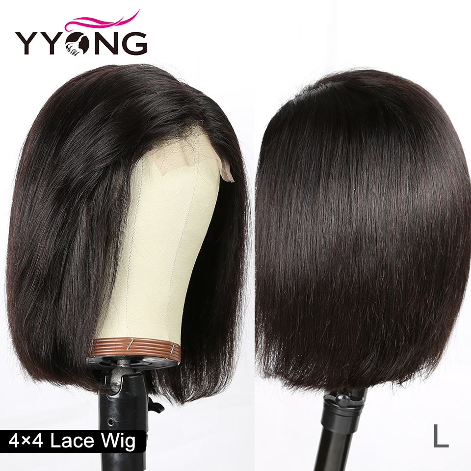 4x4 Lace Closure Wigs Brazilian Straight Short Bob Wig Remy Lace Closure Wig For Black Women Low Ratio Real Human Hair 130%